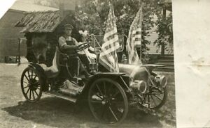 Ca 1910 Real Photo Postcard RPPC - Gleason Automobile With American Flags