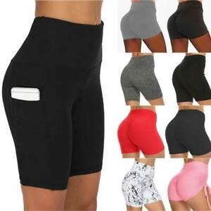 Women's High Waist Running YOGA Shorts Summer Hot Pants Gym Leggings Workout