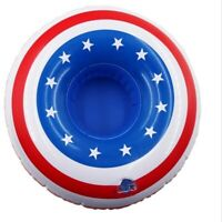 Lot of 24 Pieces - Novelty American Flag Inflatable Drink Holder Pool Floaties