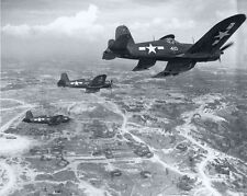 WWII Photo F4U Corsair Fighters Over Okinawa US Navy World War 2 WW2 / 5140