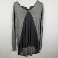 Paper Crane Womens Top Size L Gray Tunic Long SLeeve V Neck High Low Shirt