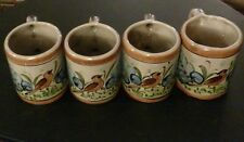 "Set of 4 Mexican Talavera Pottery Mugs with Bird Design - Marked ""CAT Mexico"""