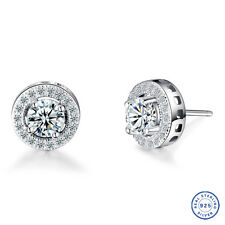 925 Sterling Silver earring CZ Cubic Zirconia clear crystal DLE45