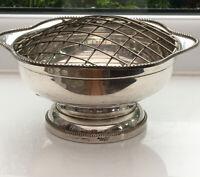 Vintage Silver Plate Rose Bowl.Arthur Price. Net & Bead Border. Original Label