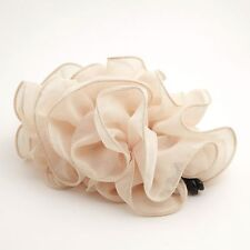 Chiffon Ruffle Wave Flower Banana Hair Clip Accessory Clamp
