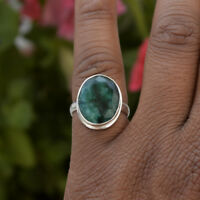 Natural Emerald Gemstone 925 Sterling Silver May Birthstone Gift Ring Size 8