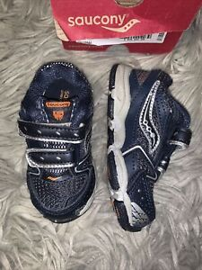 Saucony Boys Toddler Size 5 M Cohesion 5 H&L Running Shoe Navy Silver NIB