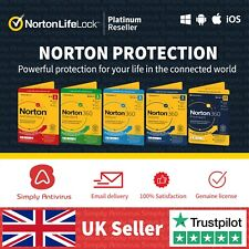 Norton Antivirus 360 Standard 1, Deluxe 3, 5 Premium 10 Devices - 5 Min by Email