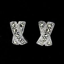 Sterling Silver 925 Marcasite Vintage Style Criss Cross X Stud Earrings RRP $90
