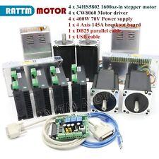 Nema34 4 Axis Stepper Motor 1600oz-in Dual Shaft+Motor Driver CNC Controller Kit