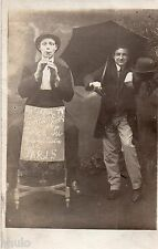 BL941 Carte Photo vintage card RPPC Homme clown spectacle funny musicien amusant