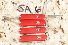 SA6  lot 4 Red Victorinox Classic SD Swiss Army knife NO LOGOS keychain knives