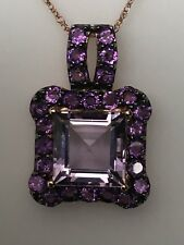 14K Rose Gold Dark and Light Amethyst Pendant Princess Cut with Chain February