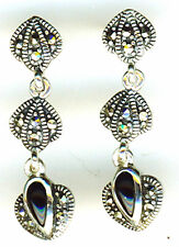 925 Sterling Silver Black Onyx & Marcasite Drop / Dangle Earrings  Length 1.1/4""