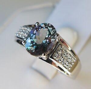 2.05Ct Bi-Color Tanzanite & Zircon 10K White Gold Ring, Size 10, Certificate