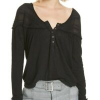 We The Free XS Down Under Henley NEW Solid Black Womens Long Sleeve Button Shirt
