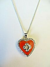 Marie Claire Coral Enamel Heart Pendant with Swarovski Crystals with Chain