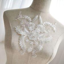 Bridal Lace Applique Embroidery Floral Applique Motif for Wedding Dress 1 Piece