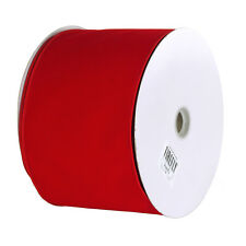 Christmas Velvet Ribbon Wired Edge, Solid Red, 6-Inch, 50-Yard