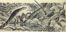 ORIGINAL Drawing ~ PAUL BRANSOM ~ American Illustrator HUNTER vs COBRA c1930s