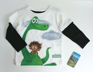 Disney Pixar The Good Dinosaur Boys' Long Sleeves Cotton T-Shirt 12M White Black