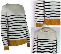 Womens Ladies Cream and Navy Stripe Mustard Hem and Cuffs Cosy Knit Jumper