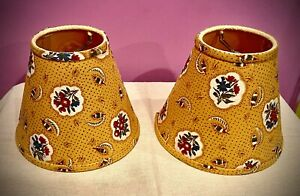 """Pierre Deux Avignonet Ochre Printed Cotton Lampshade 5""""H x  7""""W (at Bottom),"""