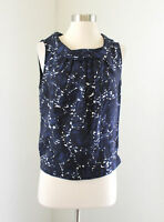 Rene Lezard Blue Abstract Floral Silk Collared Tank Top Blouse Sz 38 Black White