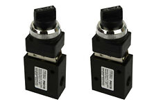 2x Latching Rotary Knob Pneumatic Control Valve 3 Port 3 Way 2 Position 1/4