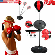 Adjustable Child Boxing Punch Ball Speed Training Bag Stand+Gloves Kid Gifts New