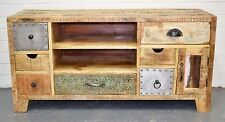 Country Timber Entertainment Unit TV Stand Cabinet Industrial Retro Vintage