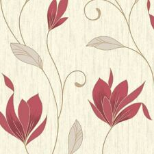 SYNERGY FLORAL GLITTER WALLPAPER RICH RED - VYMURA M0781 SPARKLE