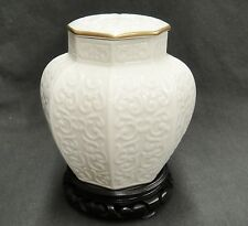 Lenox Arabesque Octagonal Ginger Jar with Lid Raised Scrolls Gold Trim & Stand
