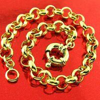 Bracelet Bangle Real 18k Yellow G/F Gold Solid Belcher Link Boltring Design