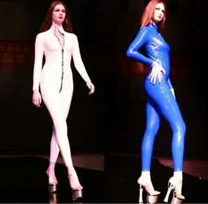 Ladies Shiny Jumpsuit PVC Faux Leather Catsuit with Zipper Long Sleeve Clubwear