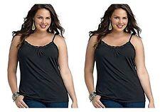 Plus Size Women Cami Camisole Black Lace Cotton Tank Top JMS 1X 2X 3X 4X NWT