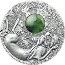 2021 Niue $2 Moon Rabbit 50 gram Silver .999 Coin w/Jade Gemstone - Mintage 500