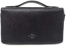 Coach Men's Double Zip Crossgrain Leather Travel Organizer Wallet - Black