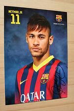 FC Barcelona 13-14 NEYMAR JR original Autogramm auf official AK  Set Card