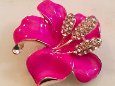 ENAMELED FLOWER BROOCH!Ravishing Very Hot Pink & Faceted Clear Crystal Stones.