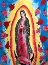 Christmas Holiday Virgin Mary Fleece Virgin De Guadalupe Nap Blanket w/Knit Trim