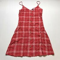 H&M Divided Size 0 Red Plaid Button Front Sleeveless Dress A1225
