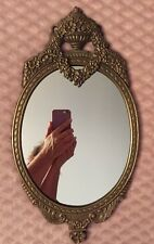 "Ornate Solid Bronze (?) Wall Mirror 17&3/4"" Antique Look Nice!"