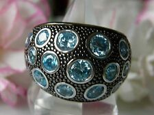 Designer Ring 925° Silber echter Blautopas Traumstück ca.17g  Gr.60 um 1990 R425