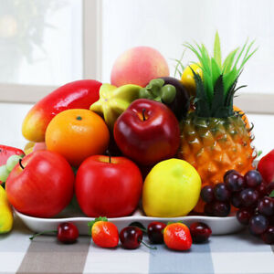 Artificial Plastic Cherry Apple Fruit Fake Kitchen Foods Decor Decorative Fruit