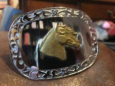Horse belt Buckle Vintage Solid Brass Chrome Cowboy Rodeo