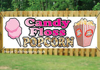 CANDY FLOSS & POPCORN Printed BANNER OUTDOOR SIGN TAKEAWAY PVC with Eyelets 003