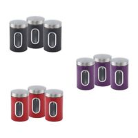SQ 3pc Tea Coffee Sugar Canister Kitchen Storage Canisters Jar Tin Organizer pot