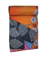 Indian Kantha Quilt King Cotton Bed Blanket Vintage Handmade Bedspread Throw