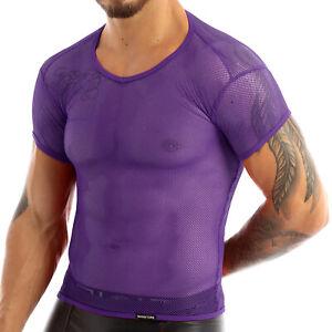US Mens See Through Mesh Fishnet Crop Tank Top Muscle Vest Tee Shirts Clubwear